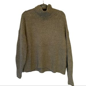 American Eagle oversized cowl neck green sweater cotton/acrylic blend small VGUC
